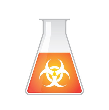 A chemical test tube with  biohazard icon
