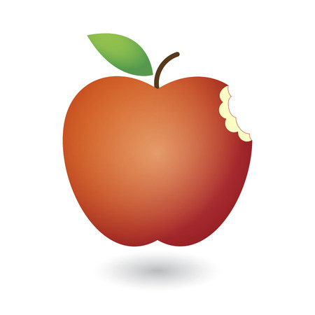 An illustration of a cute red fresh apple