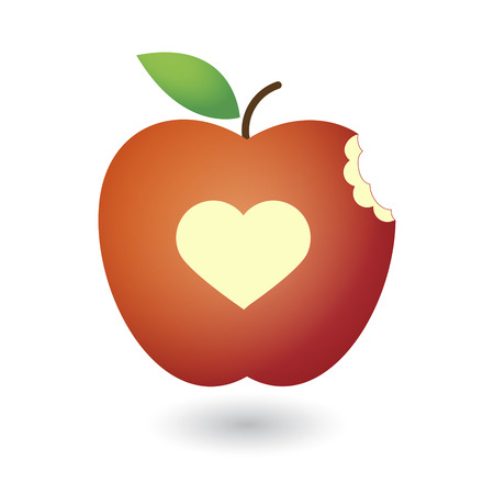 apple bite: An illustration of a cute red fresh apple