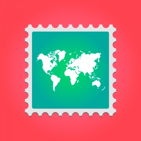 Illustration of a mail stamp with an icon