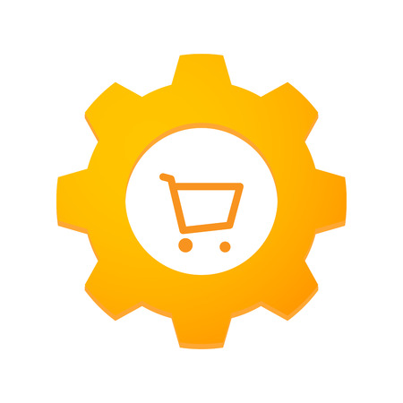 Illustration of an isolated gear with an icon Vector