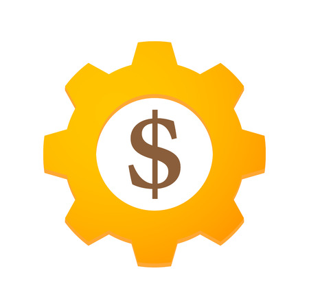 Illustration of an isolated gear with a currency sign Illustration