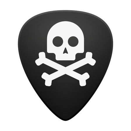 Illustration of an isolated guitar pick with a skull