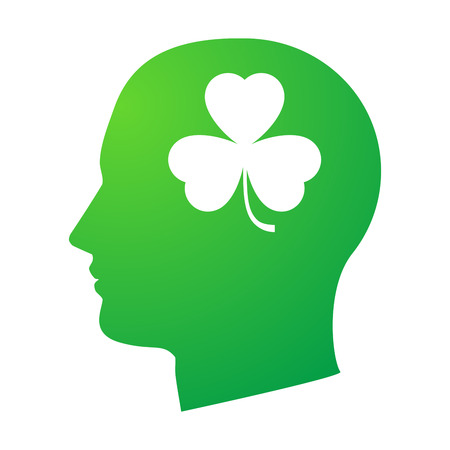 clover face: Illustration of an isolated head with a clover icon Illustration