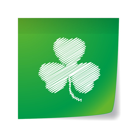 Illustration of an isolated  note  with a clover icon Illustration