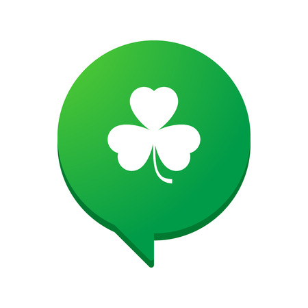 shamrock background: Illustration of an isolated comic balloon with a clover icon