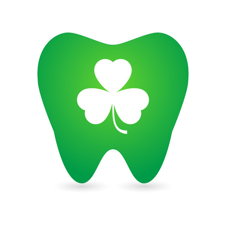 Illustration of an isolated  tooth  with a clover icon Illustration