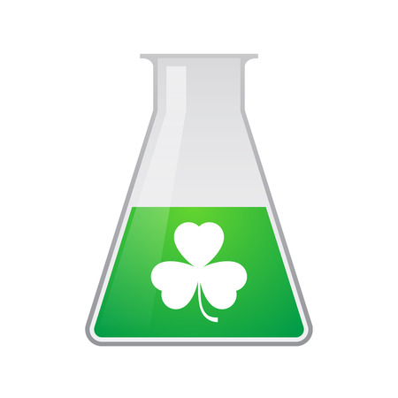 Illustration of an isolated  chemical test tube  with a clover icon