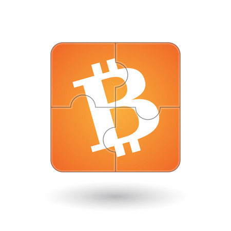 p2p: Isolated illustration of a puzzle game with a bitcoin icon Illustration