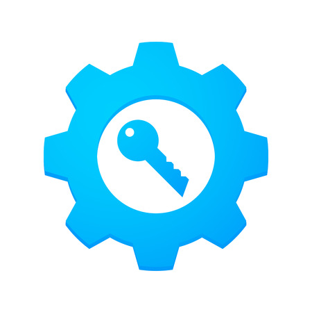 Illustrtion of an isolated gear with an icon