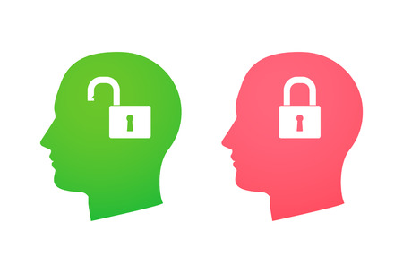 Illustration of an isolated head silhouette with a lock icon Vector