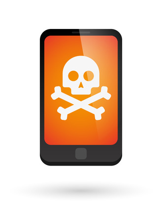 threat: Illustration of an isolated phone with an icon Illustration