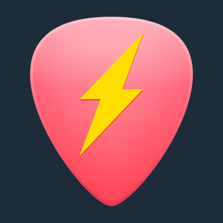 Illustration of an isolated guitar pick with an icon Vector