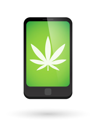 marihuana: Illustration of an isolated phone with an icon Illustration