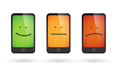 Illustration of an isolated set of survey phone icons Illustration