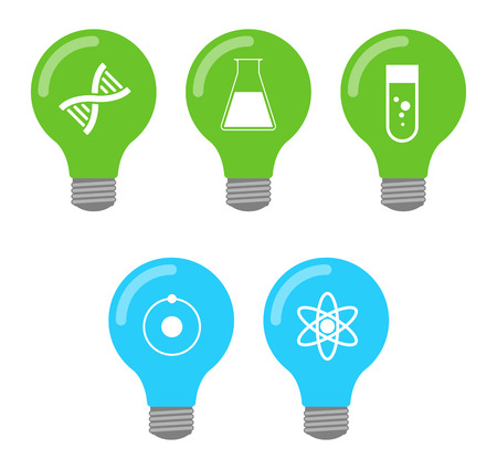 Illustration of an isolated set of lightbulb icons Vector