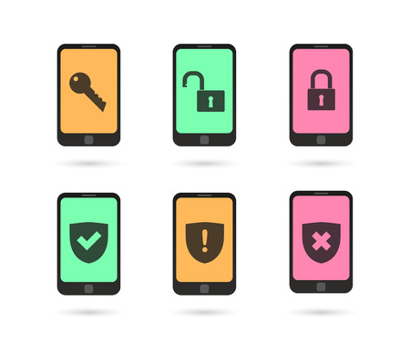 Illustration of an isolated set of phone icons Vector