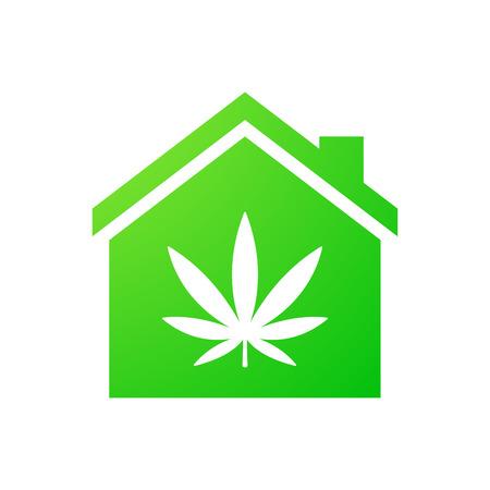 hoja marihuana: Ilustración de un icono de la casa aislada