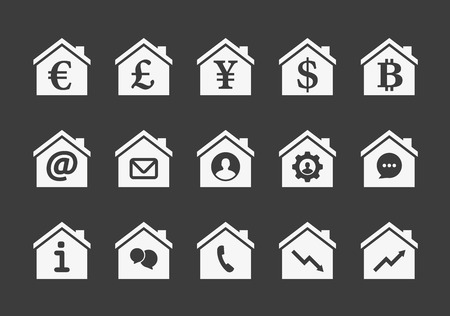 Illustration of an isolated house icon set Vector