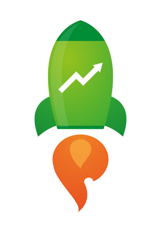 infomation: Illustration of an isolated rocket with an icon Illustration