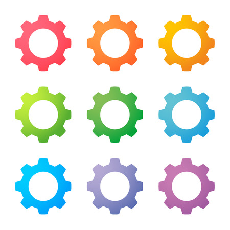 Illustration of an isolated set of colored gears