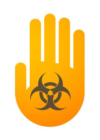 riesgo biologico: Ilustración de un icono de la mano aislado Vectores