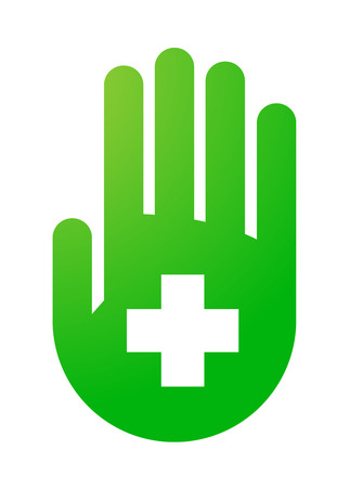 Illustration of an isolated hand with an icon Vector