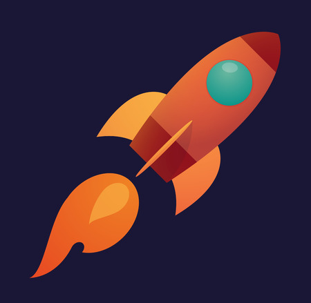 Illustration of an isolated rocket with an icon Vector