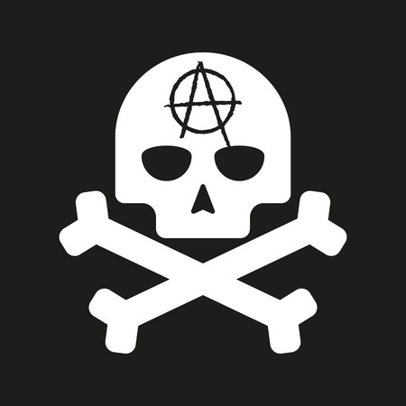 skull icon: Illustration of an isolated skull with an  anarchy