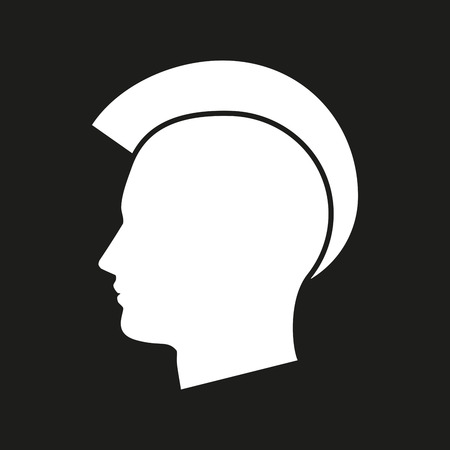punk hair: Illustration of an isolated punk head icon  Illustration