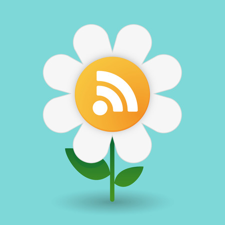 Illustration of a daisy on a blue background Vector