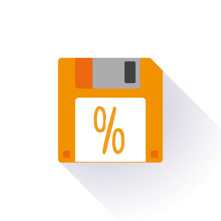 Illustration of an isolated floppy disk with an icon Vector