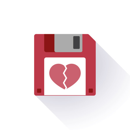 disk break: Illustration of an isolated floppy disk with an icon