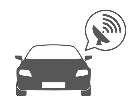 Illustration of an isolated car silhouette with a comic balloon and an icon