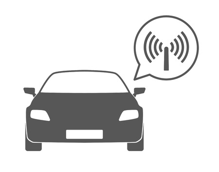 internet radio: Illustration of an isolated car silhouette with a comic balloon and an icon