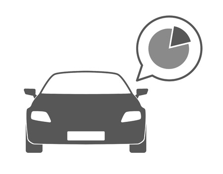 Illustration of an isolated car silhouette with a comic balloon and an icon Vector