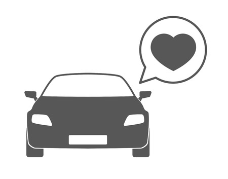 Illustration of an isolated car silhouette with a comic balloon  Vector