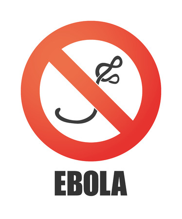 infection prevention: Illustration of an isolated forbidden signal with an ebola sign Illustration