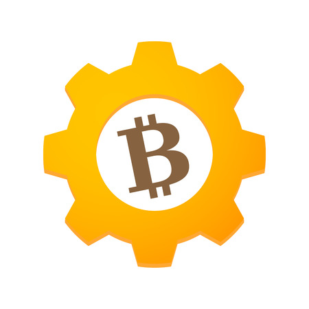 Illustration of an isolated gear with a bitcoin Vector