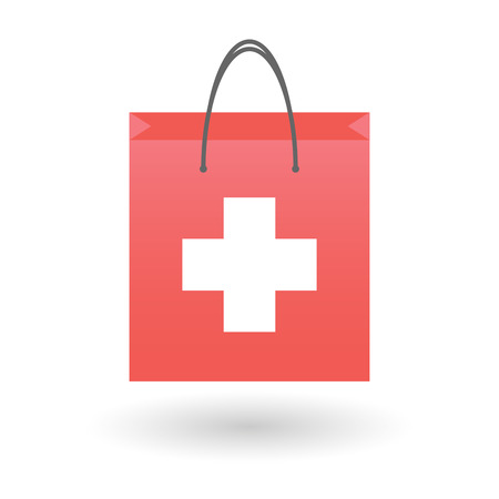 swiss flag: Illustration of an isolated shopping bag with a swiss flag