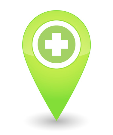 Illustration of an isolated map mark with a pharmacy icon