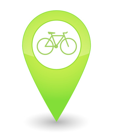 Illustration of an isolated map mark with a bicycle icon
