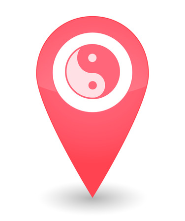 karma design: Illustration of an isolated map mark with a yingyang icon Illustration