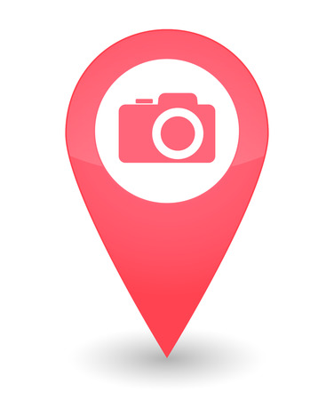 Illustration of an isolated map mark with a camera icon Vector