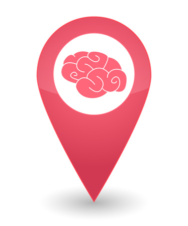 mental object: Illustration of an isolated map mark with a brain icon
