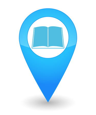 book mark: Illustration of an isolated map mark with a book icon