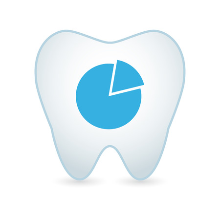 piechart: Illustration of an isolated tooth with a piechart icon