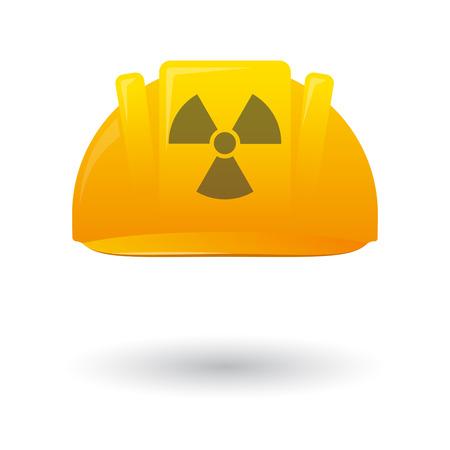 radioactivity: Illustration of an isolated work helmet wit a radioactivity sign Illustration