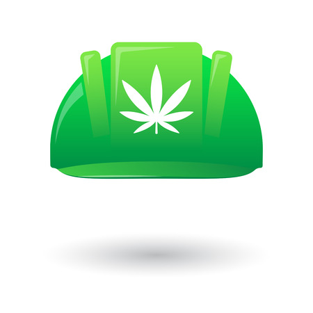 marihuana: Illustration of an isolated green work helmet wit a marijuana leaf