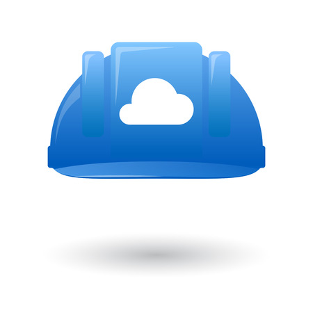 wit: Illustration of an isolated blue work helmet wit a cloud sign Illustration